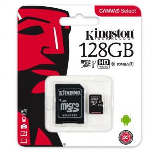 Kingston 128GB microSDXCvC10 UHS-I R80MB/s Canvas Select + SD